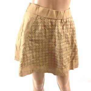 New Club Monaco Women's Floral Skirt Tan Size 12